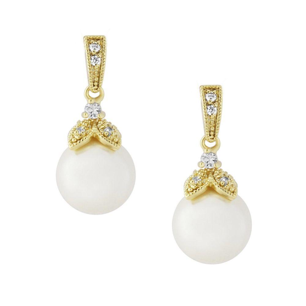 Opulence Pearl Wedding Earrings (Gold)