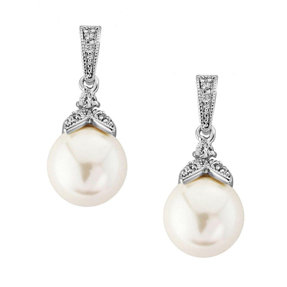 Opulence Pearl Wedding Earrings (Silver)