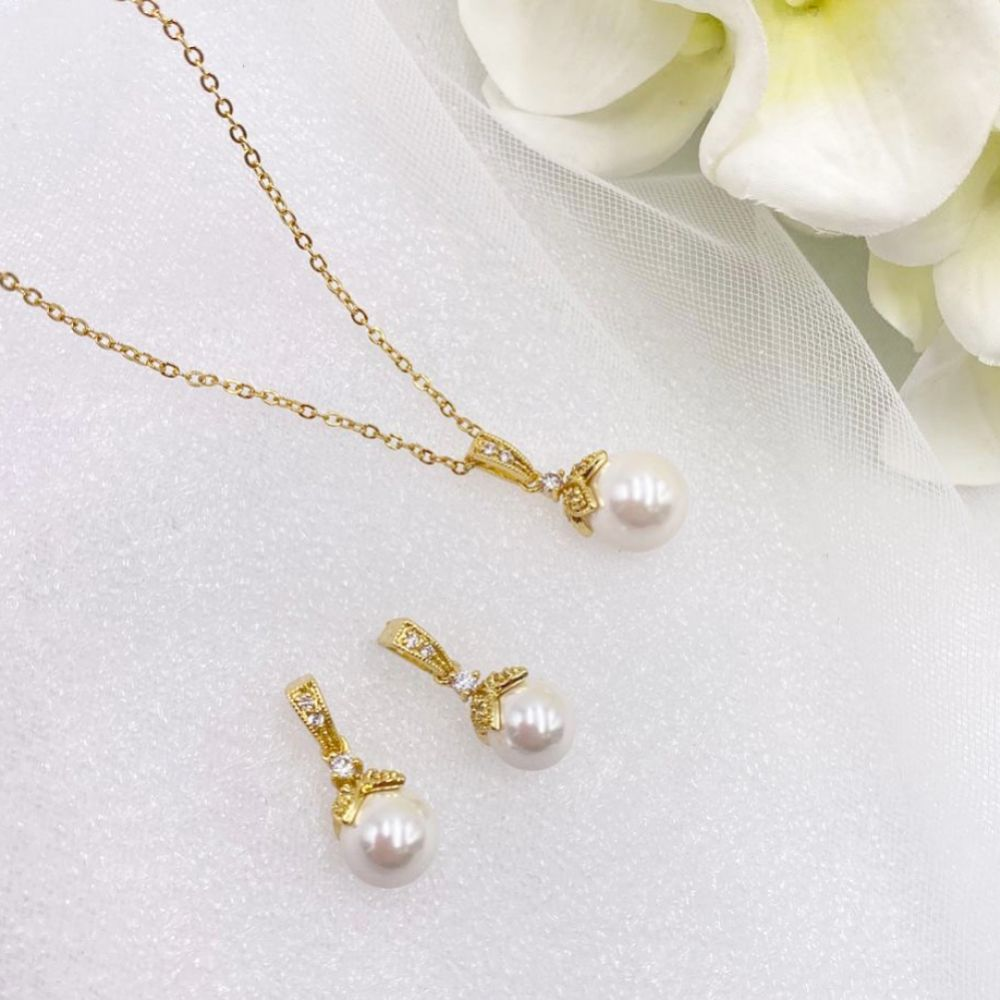 Opulence Pearl Wedding Jewellery Set (Gold)
