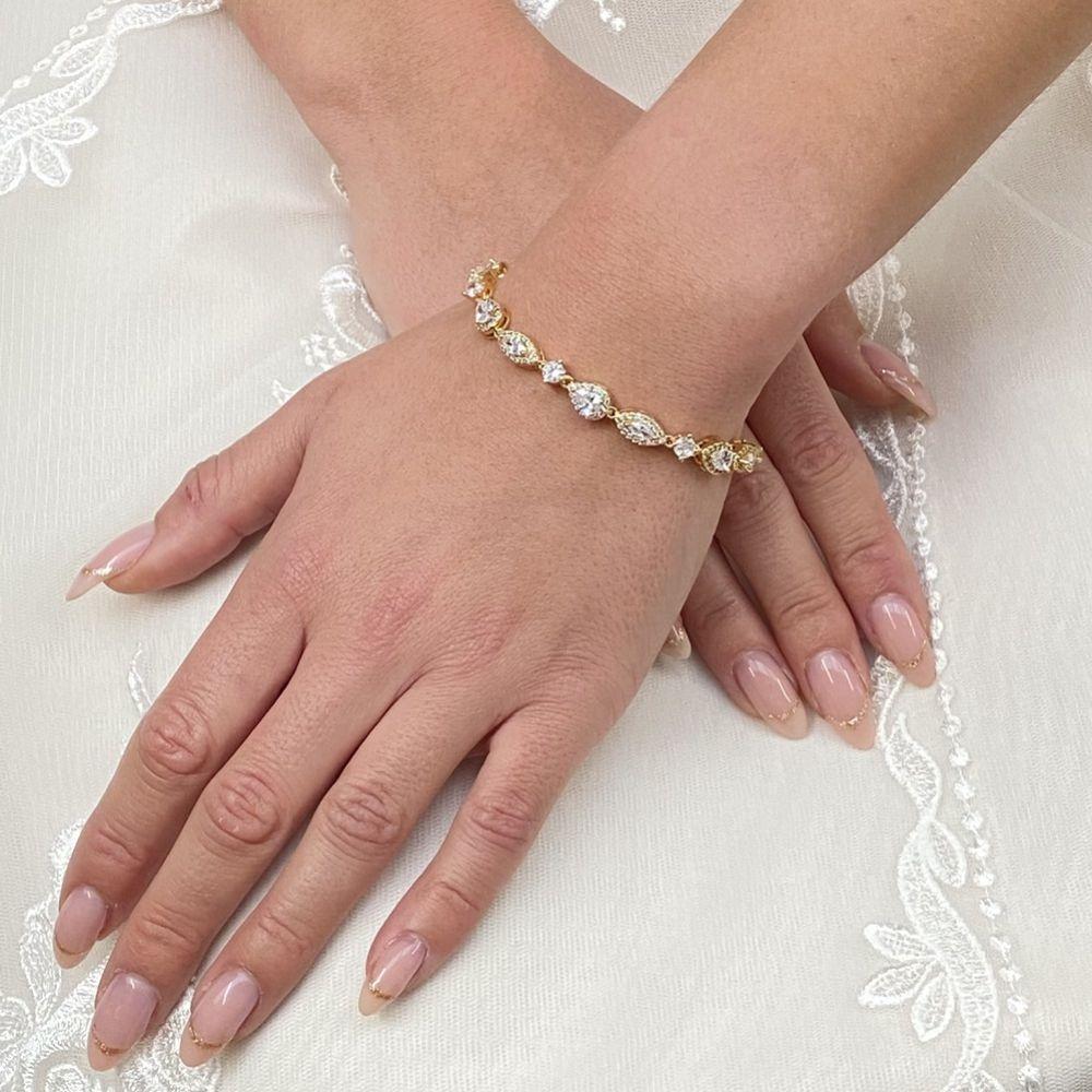 Palladium Cubic Zirconia Wedding Bracelet (Gold)