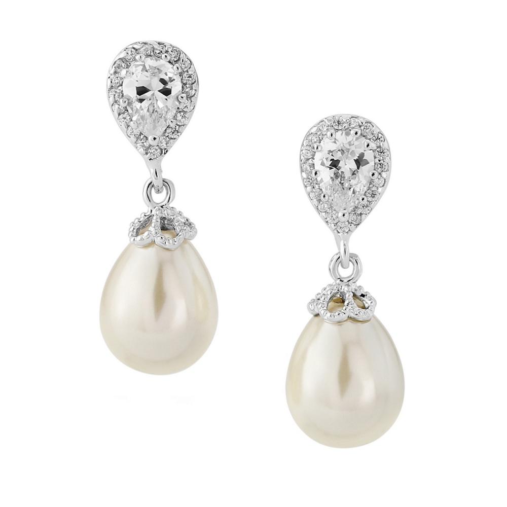 Paloma Teardrop Pearl Wedding Earrings (Silver)