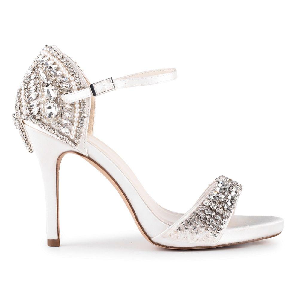 Paradox London Elodie Ivory Satin High Heel Crystal Sandals