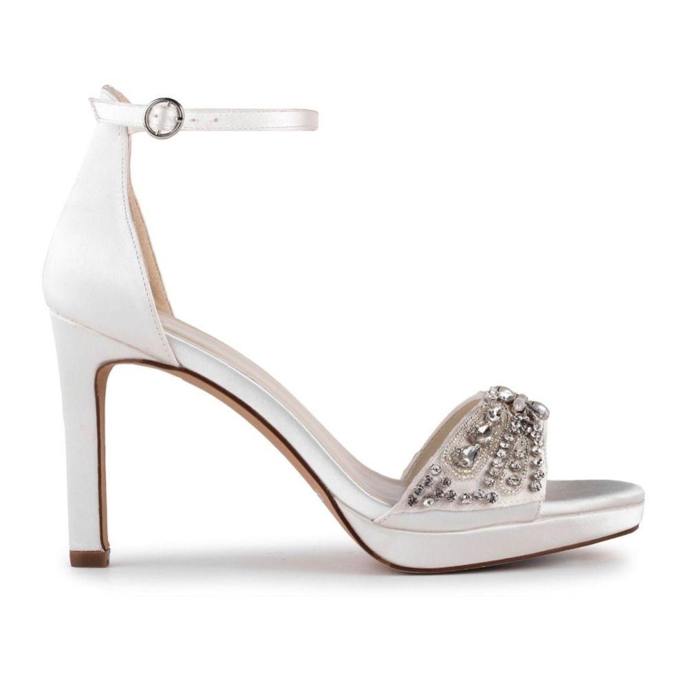 Paradox London Enya Ivory Satin High Heel Crystal Platform Sandals