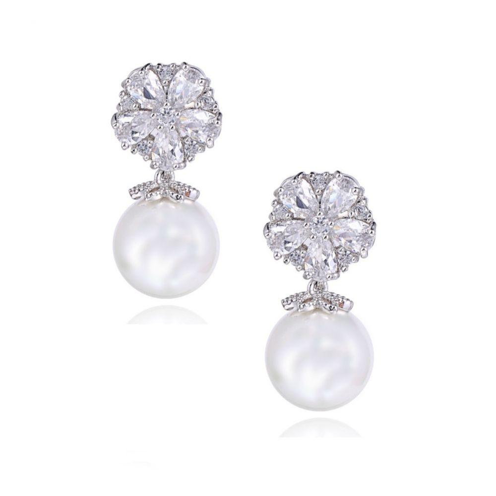 Pearl Shimmer Cubic Zirconia Wedding Earrings