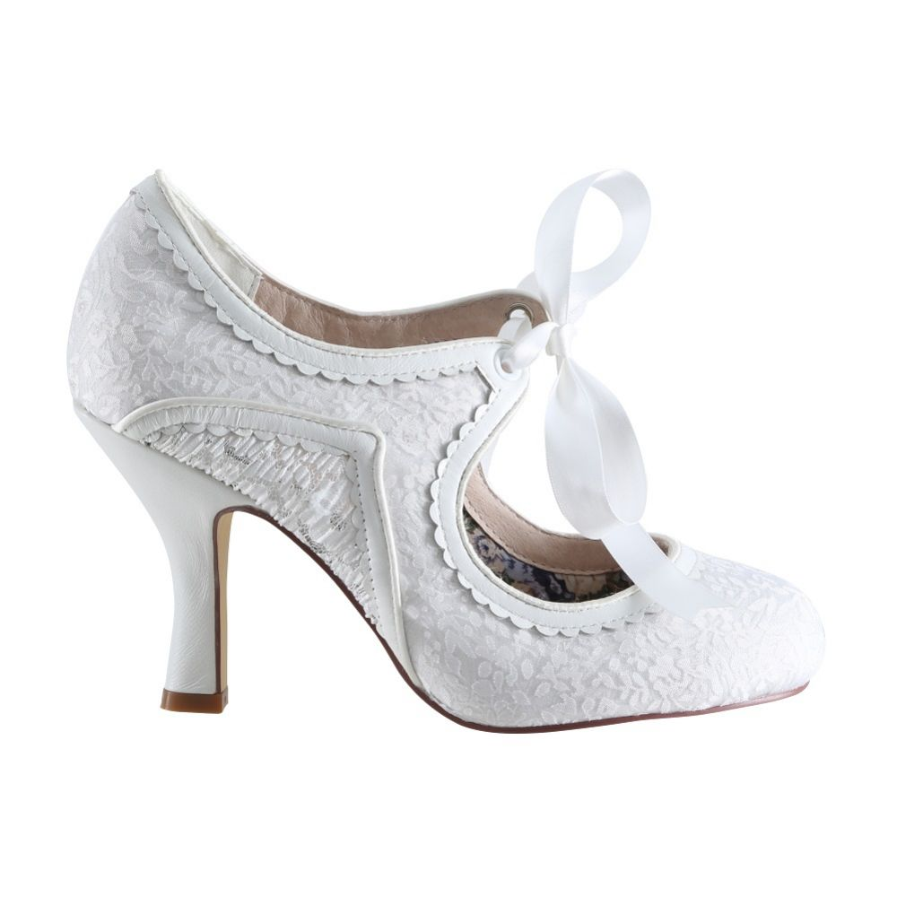 Perfect Bridal Bianca Ivory Lace and Leather Vintage Mary Jane Shoes