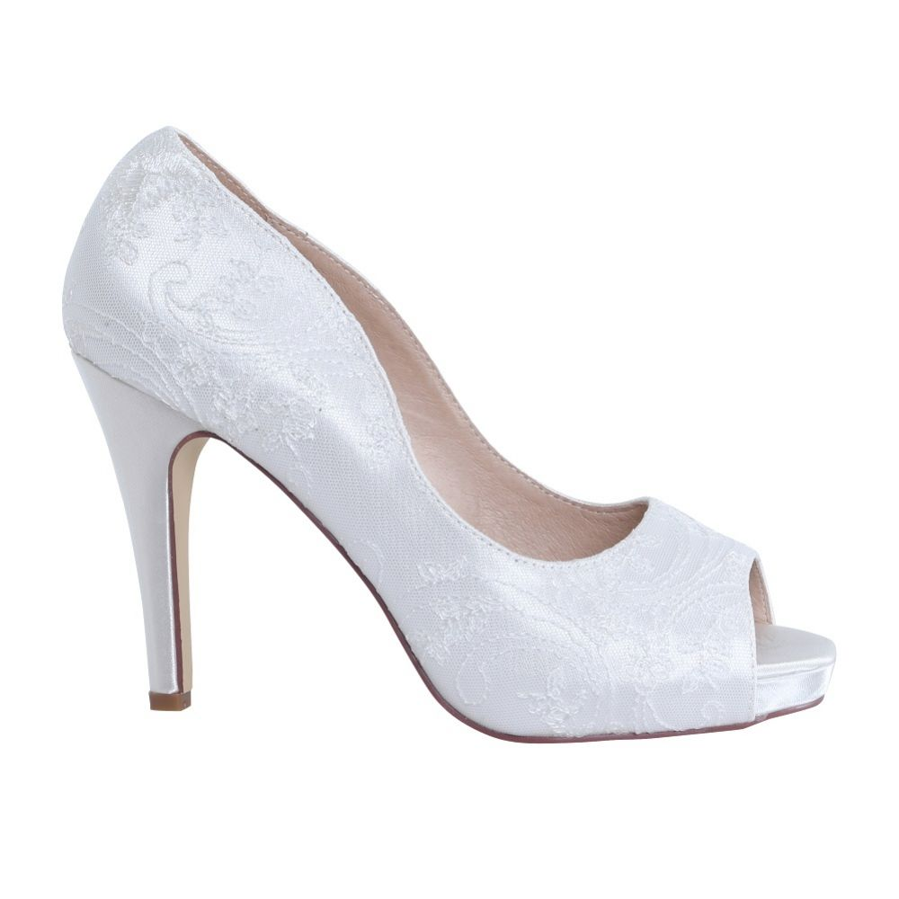 Perfect Bridal Celia Dyeable Ivory Satin and Lace Platforms Peep Toes