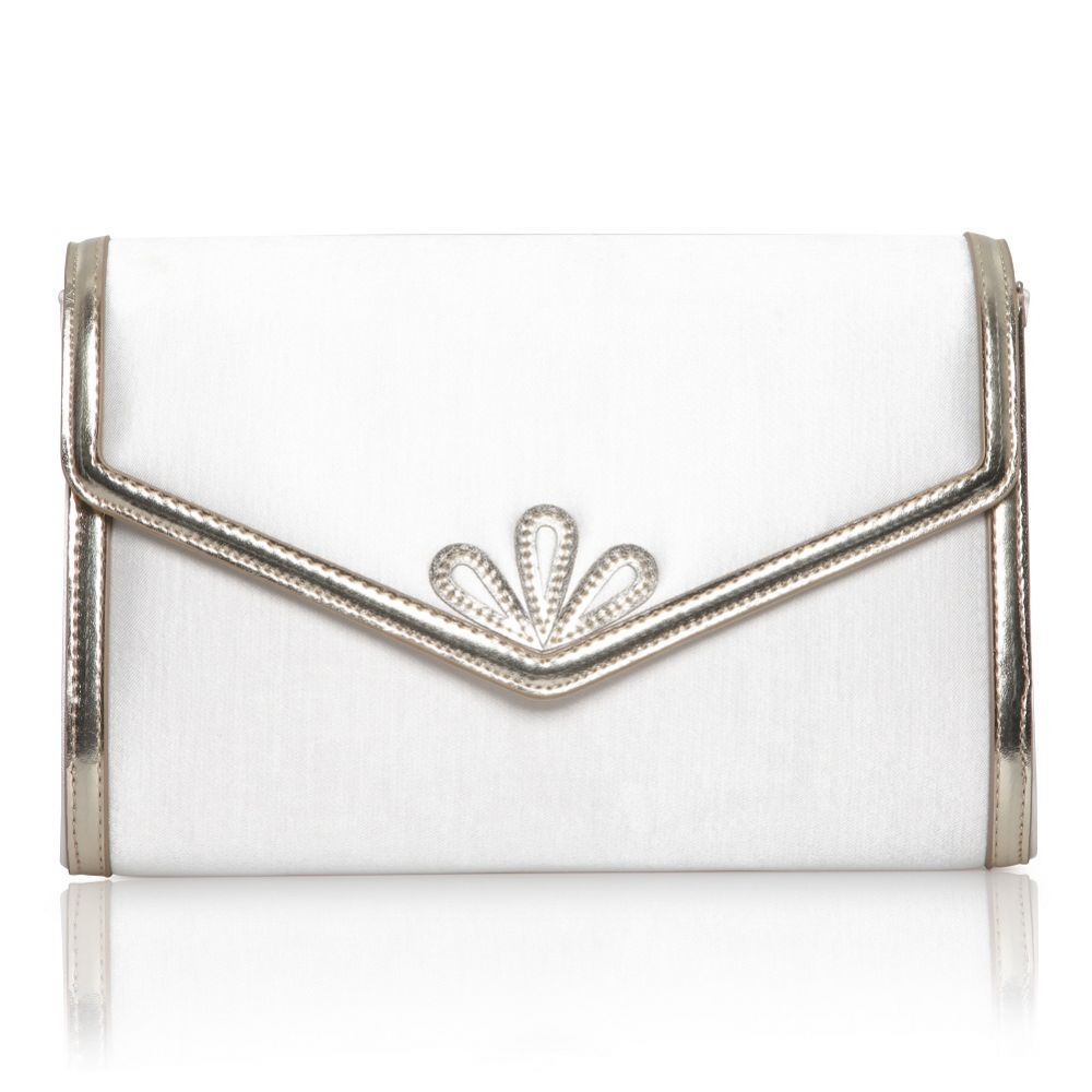 Perfect Bridal Clover Dyeable Ivory Satin and Gold Clutch Bag