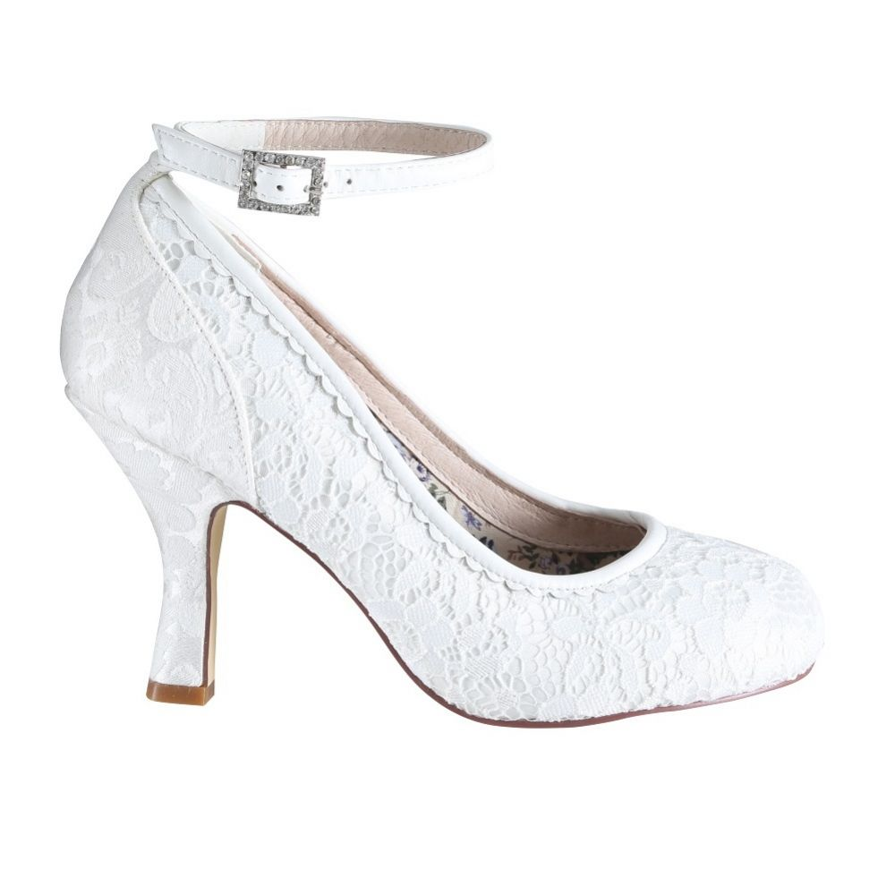 Perfect Bridal Dixie Ivory Lace Ankle Strap Court Shoes