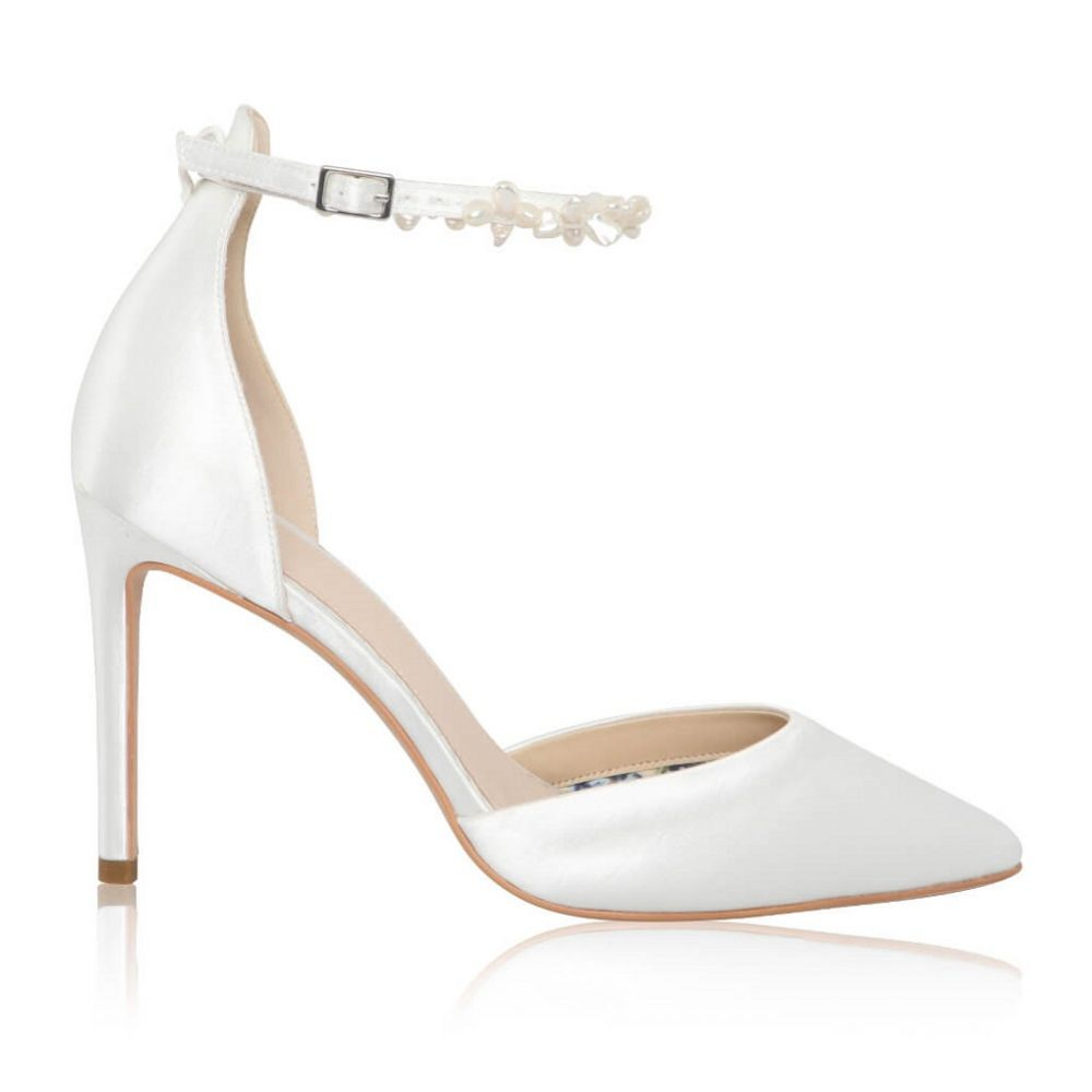 Perfect Bridal Ella Dyeable Ivory Satin Keshi Pearl Ankle Strap Court Shoes