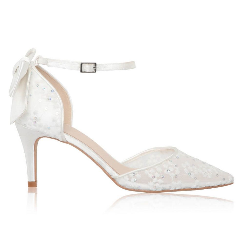 Perfect Bridal Florence Ivory Sequin Lace Ankle Strap Court Shoes with Bow Detail