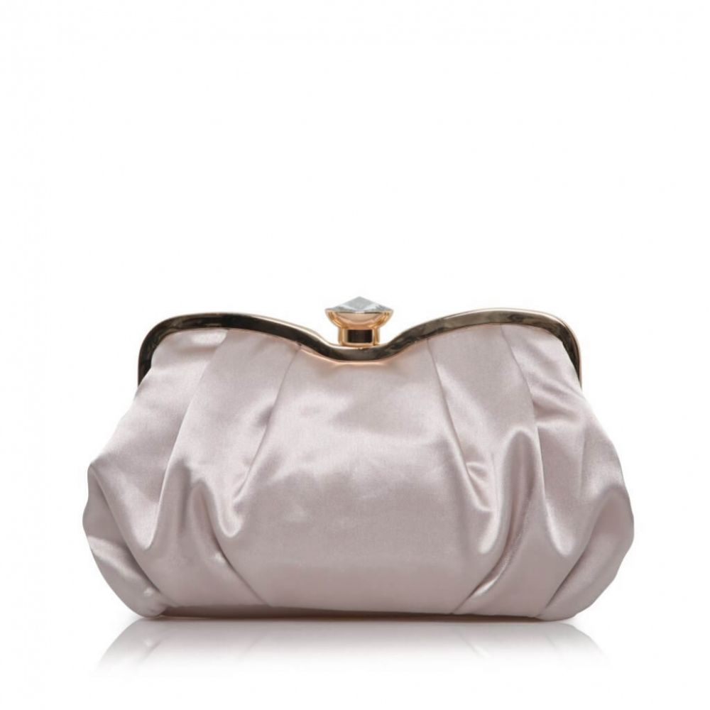 Perfect Bridal Ginger Taupe Satin Clutch Bag with Crystal Clasp