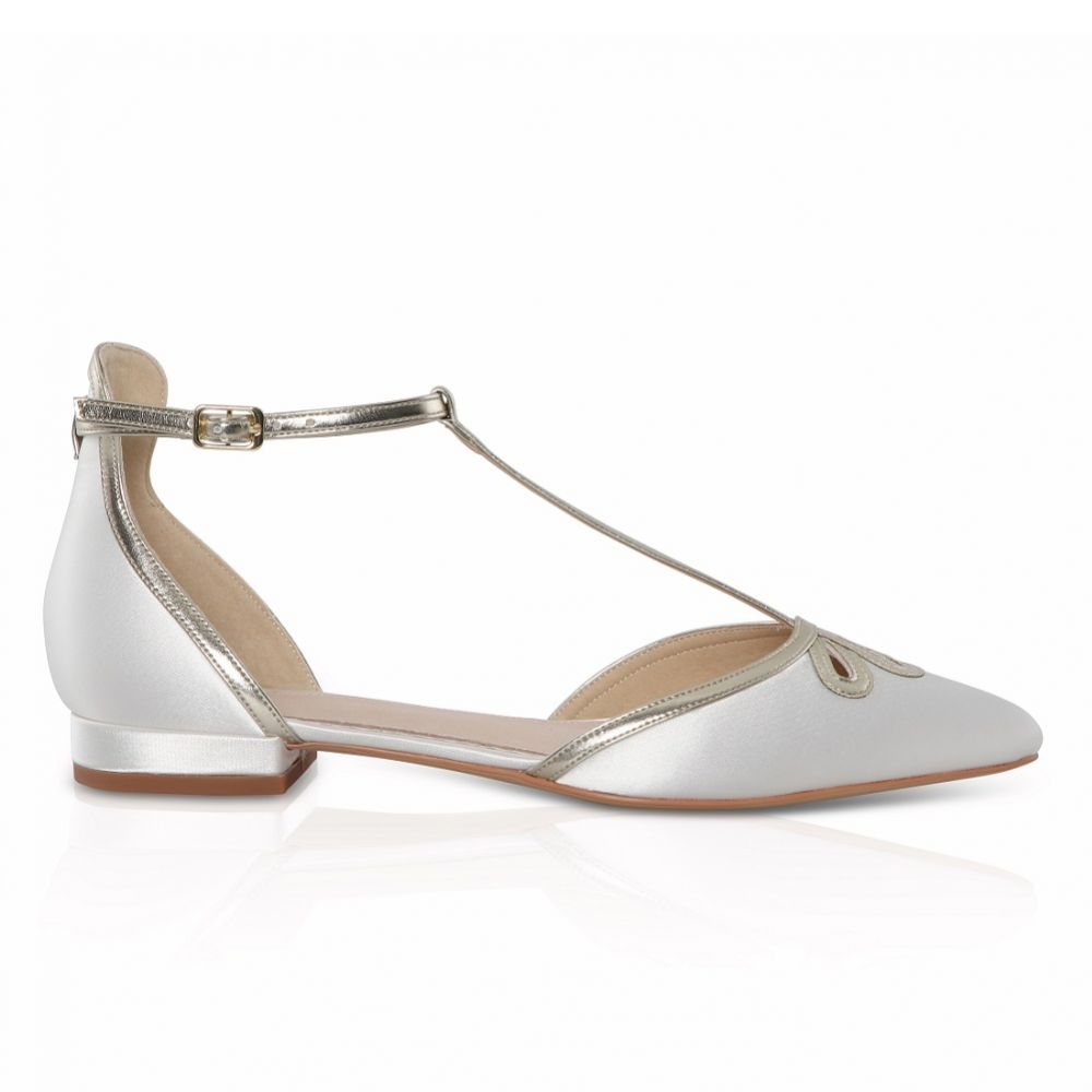 Perfect Bridal Harper Dyeable Ivory Satin and Gold T-Bar Flats