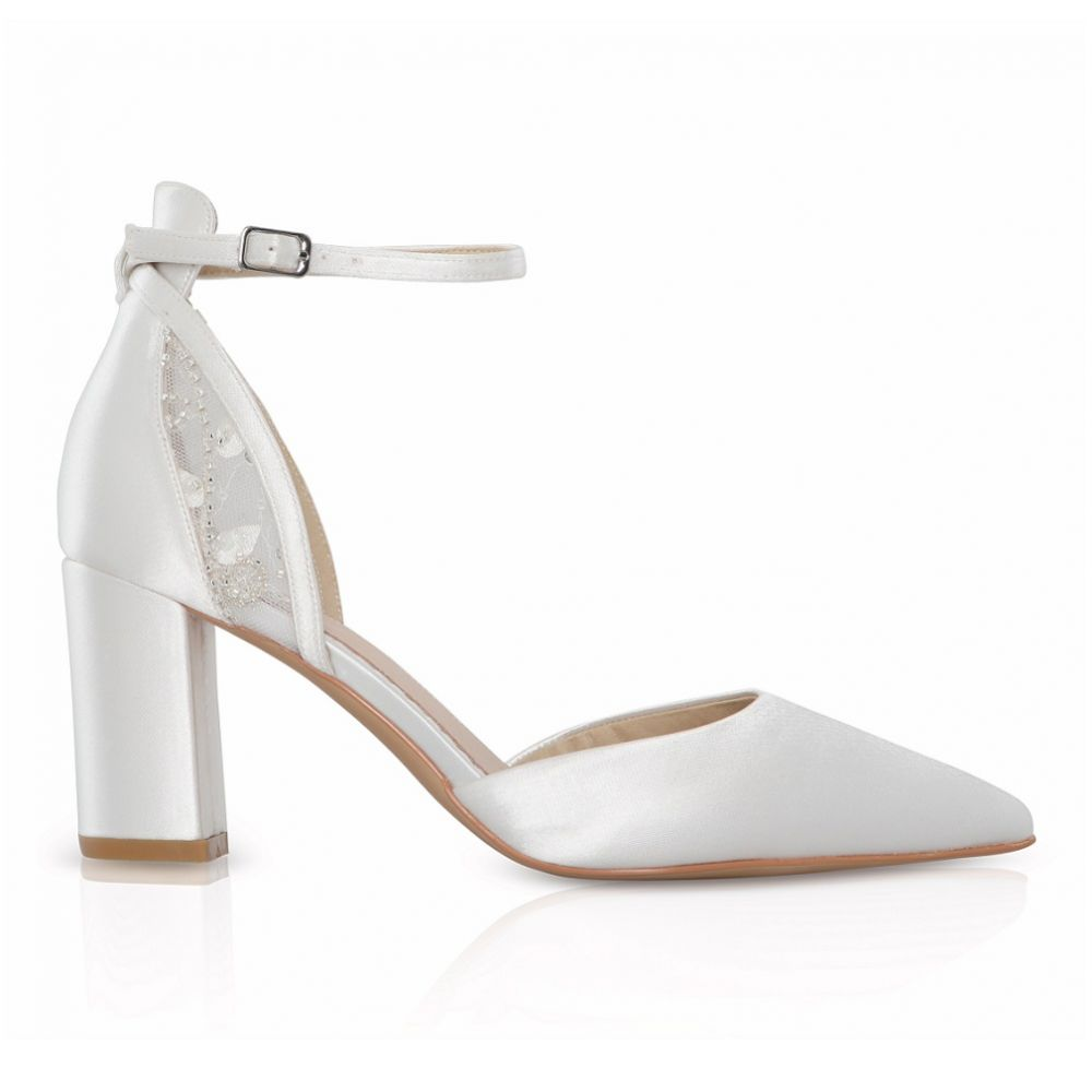 Perfect Bridal Indi Dyeable Ivory Satin Block Heel Ankle Strap Court Shoes (Wide Fit)