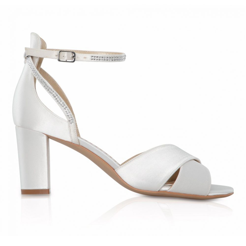 Perfect Bridal Isla Dyeable Ivory Satin Block Heel Sandals with Diamante Detail