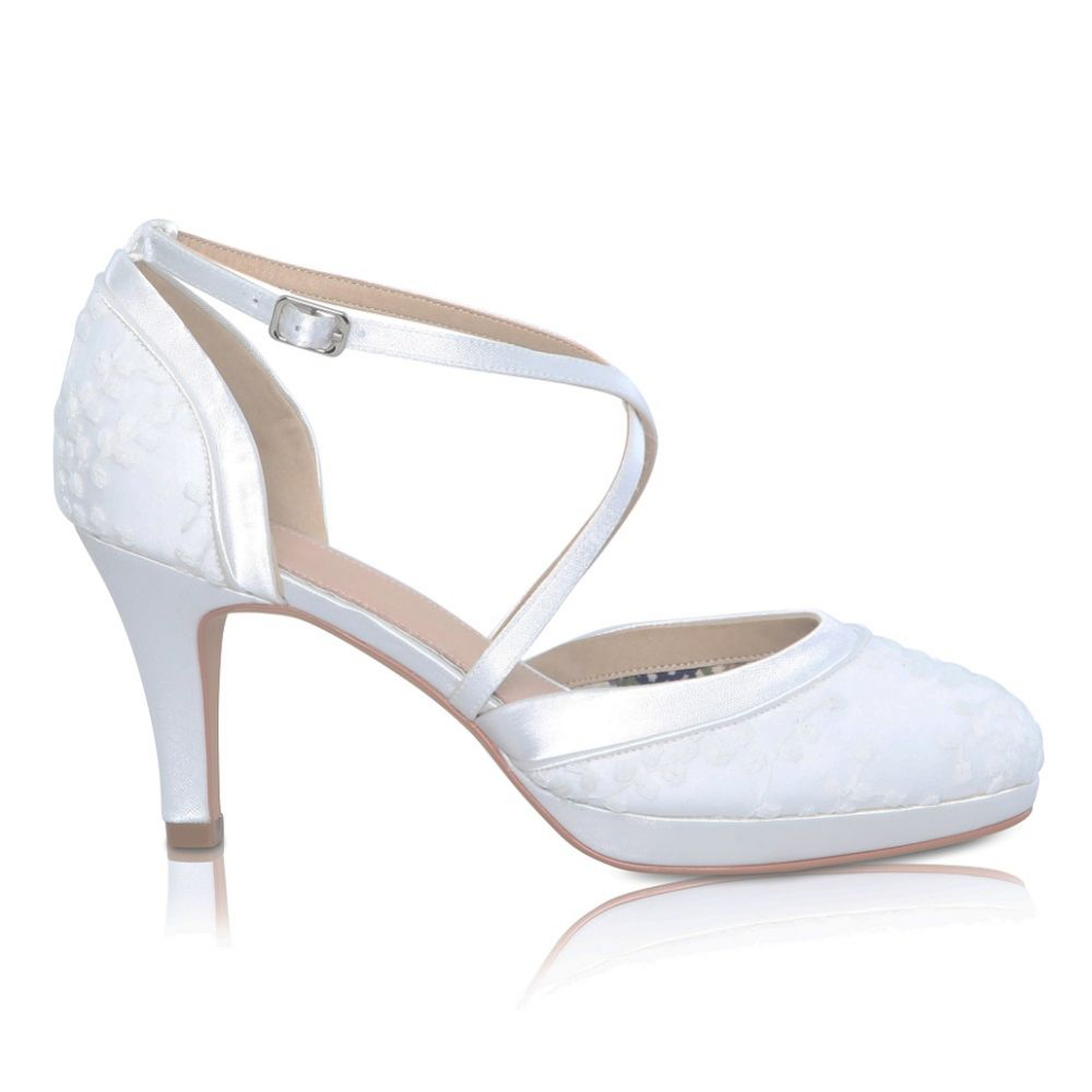 Perfect Bridal Isobel Dyeable Ivory Lace Cross Strap Platform Shoes
