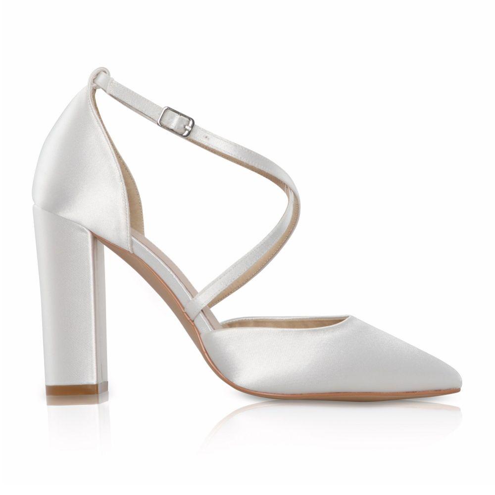 Perfect Bridal Kiera Dyeable Ivory Satin Cross Strap Block Heel Courts