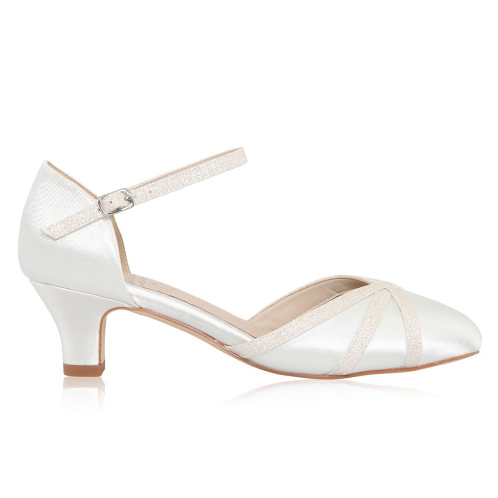 Perfect Bridal Maddie Dyeable Ivory Satin and Shimmer Low Heel Shoes