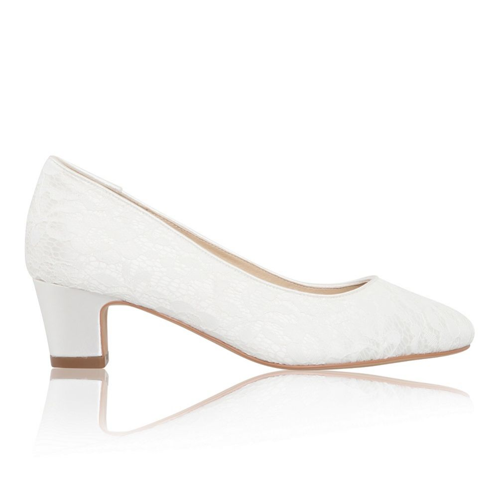 Perfect Bridal Melanie Dyeable Ivory Lace Block Heel Court Shoes (Wide Fit)