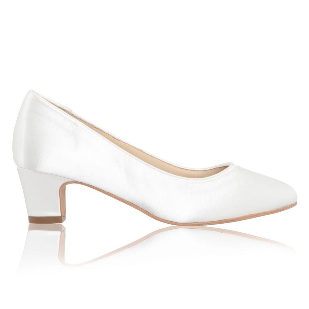 Perfect Bridal Melanie Dyeable Ivory Satin Block Heel Court Shoes