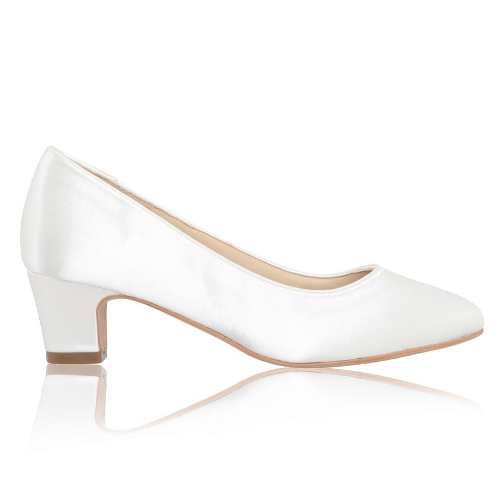 Perfect Bridal Melanie Dyeable Ivory Satin Block Heel Court Shoes (Wide Fit)