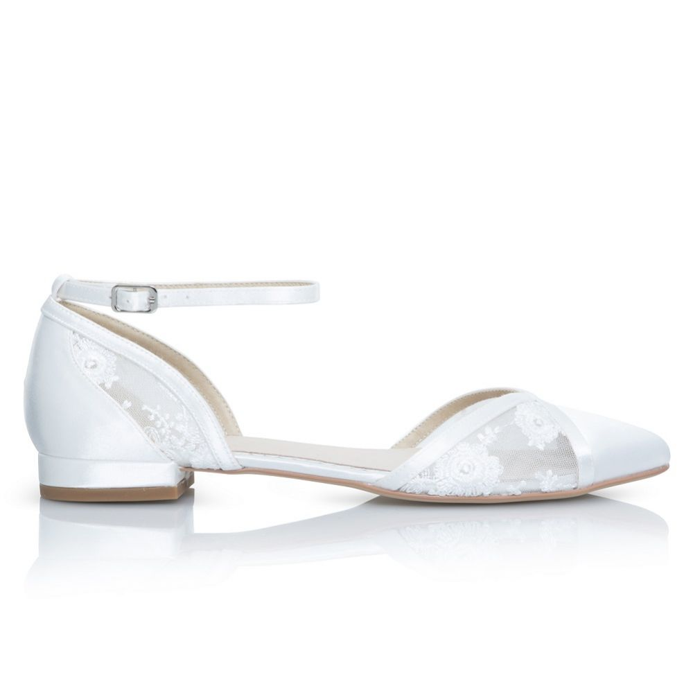 Perfect Bridal Penny Ivory Satin and Lace Ankle Strap Flats