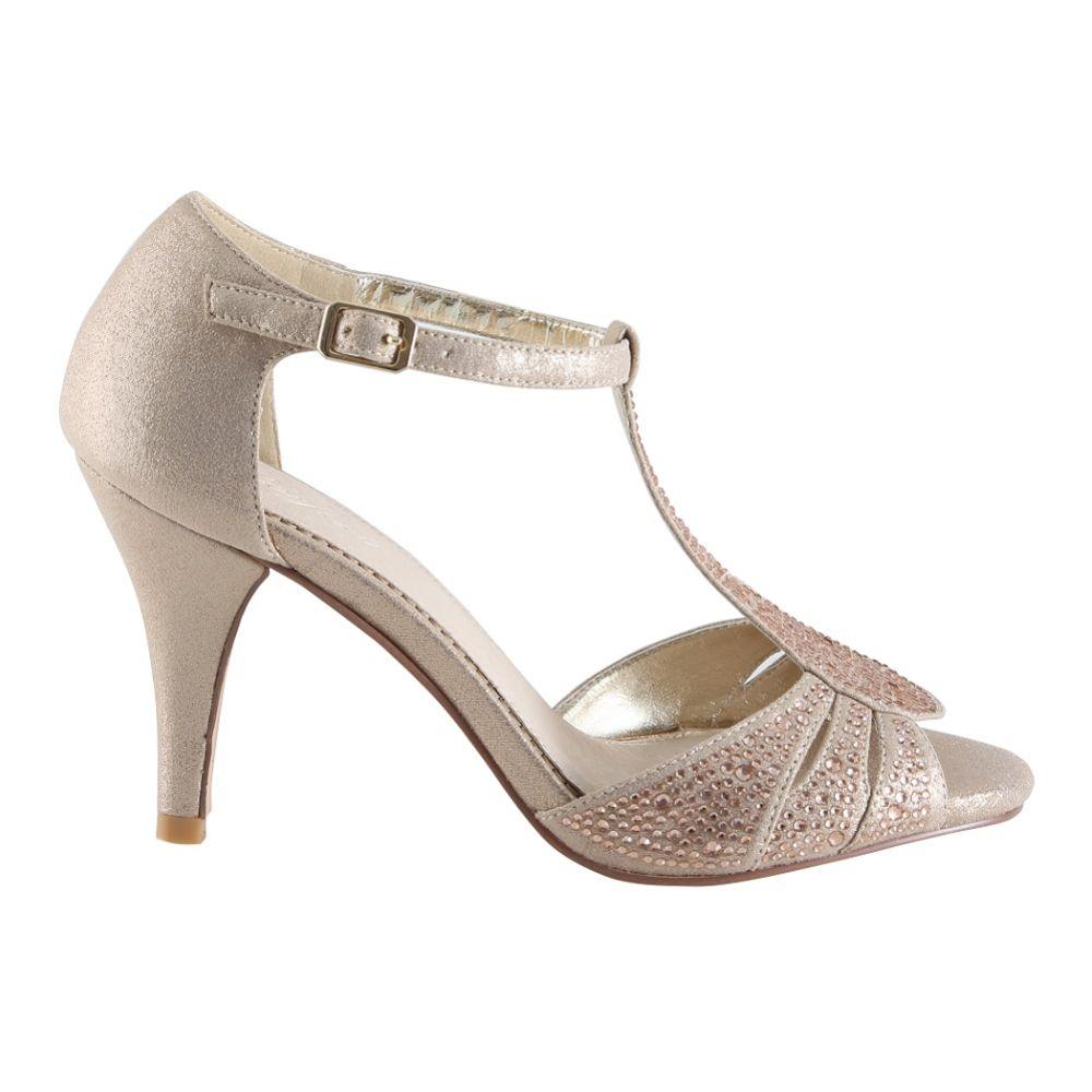Perfect Bridal Perla Gold Crystal Embellished T-Bar Sandals