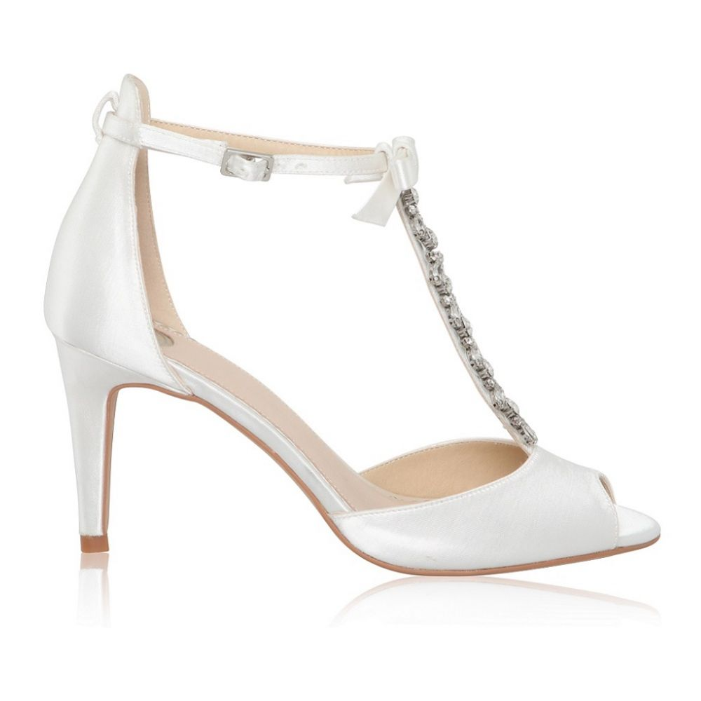 Perfect Bridal Phoenix Dyeable Ivory Satin Crystal T-Bar Sandals with Bow Detail