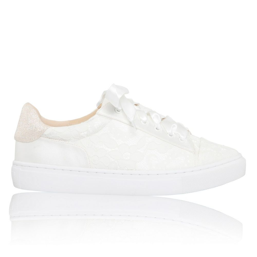 Perfect Bridal Pia Ivory Lace Wedding Trainers with Satin Ribbon