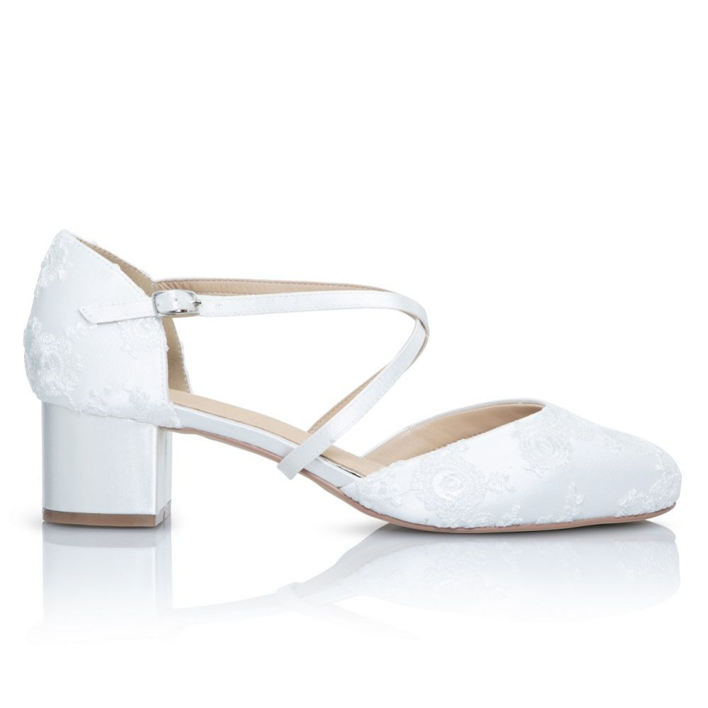 Perfect Bridal Remi Dyeable Ivory Lace Block Heel Courts with Crossover Straps