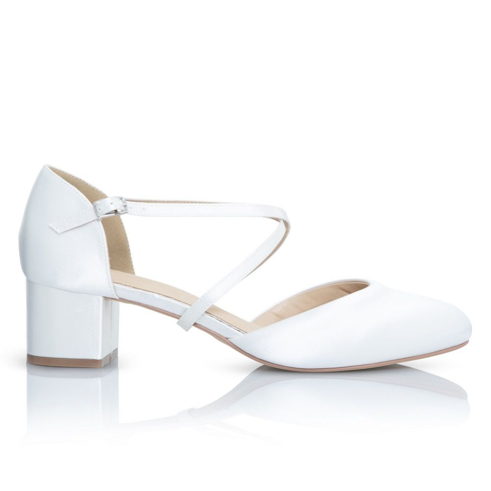 Perfect Bridal Remi Dyeable Ivory Satin Block Heel Courts with Crossover Straps