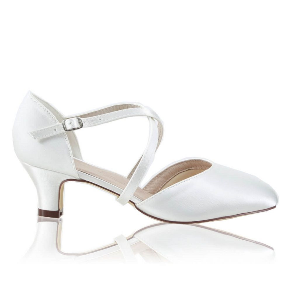 Perfect Bridal Renate Dyeable Ivory Satin Low Heel Courts with Crossover Straps
