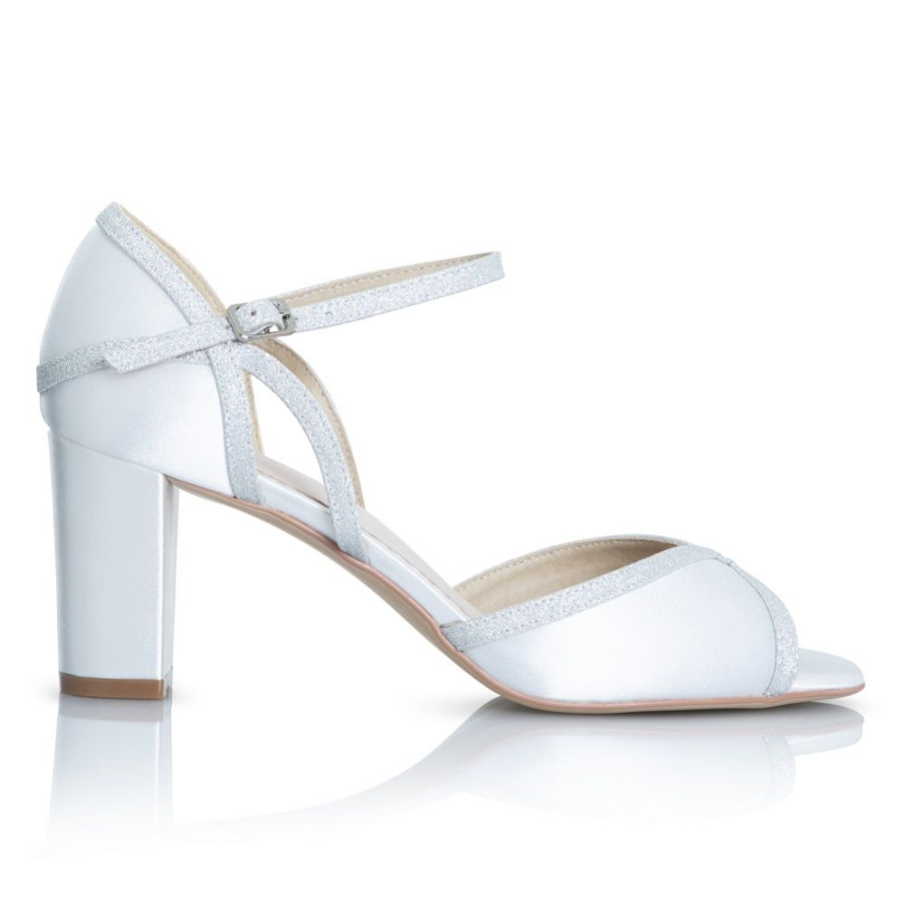 Perfect Bridal Sabrina Dyeable Ivory Satin and Silver Glitter Block Heel Sandals