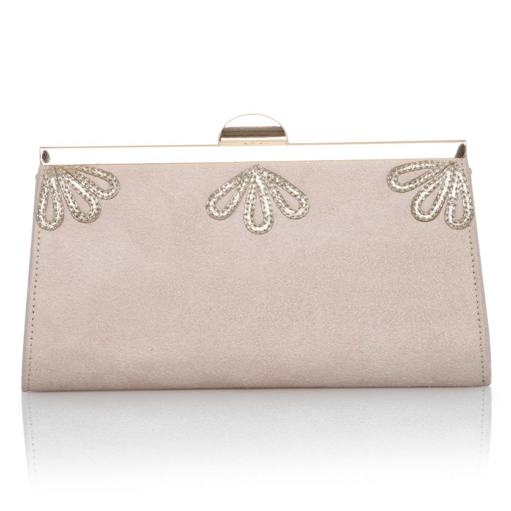 Perfect Bridal Sage Blush Suede and Gold Shimmer Clutch Bag