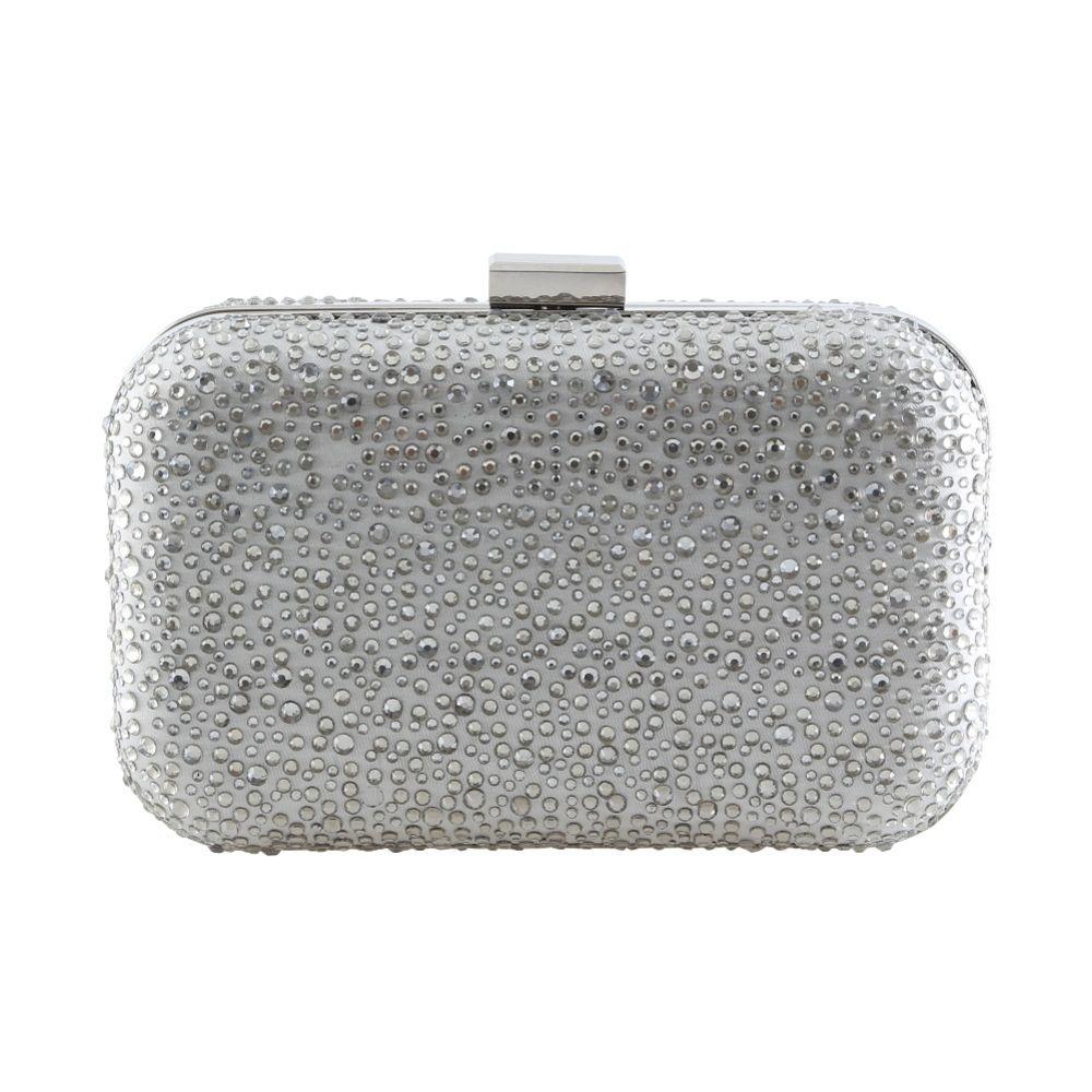 Perfect Bridal Sammy Silver Crystal Studded Clutch Bag