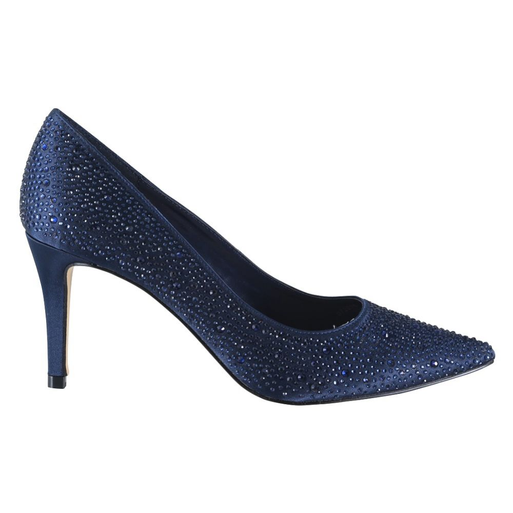 Perfect Bridal Stara Navy Crystal Embellished Pointed Courts