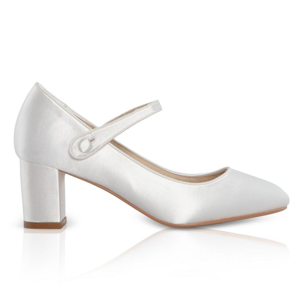 Perfect Bridal Toni Dyeable Ivory Satin Block Heel Mary Jane Shoes