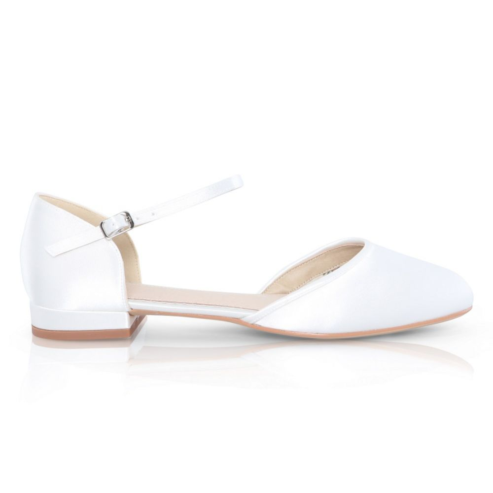 Perfect Bridal Verity Dyeable Ivory Satin Flat Wedding Shoes with Ankle Strap