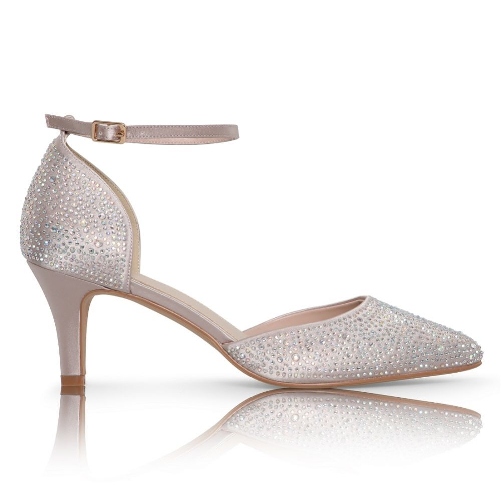 Perfect Bridal Xena Taupe Crystal Embellished Ankle Strap Court Shoes