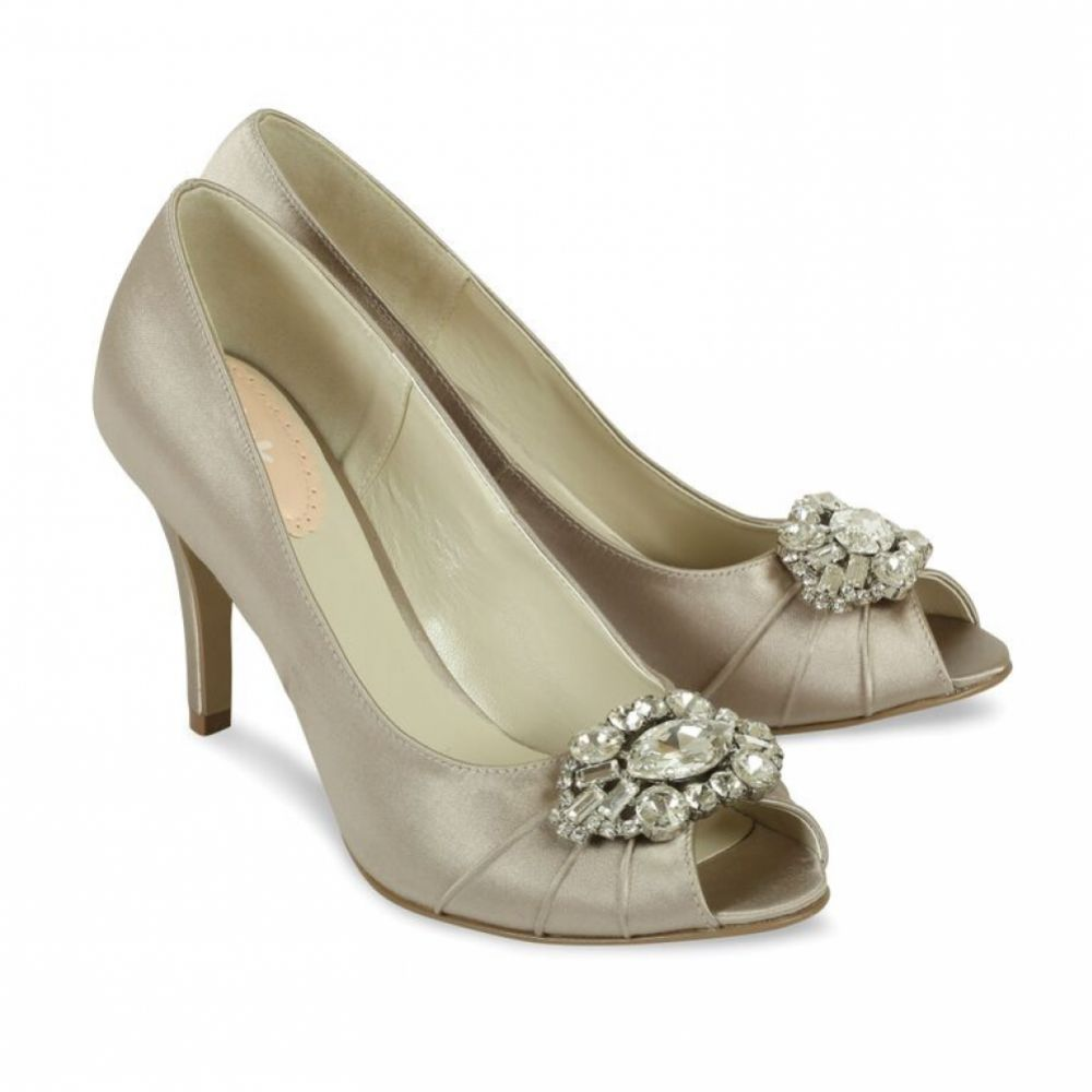 Pink Paradox Tender Taupe Satin Bridesmaid or Party Shoes