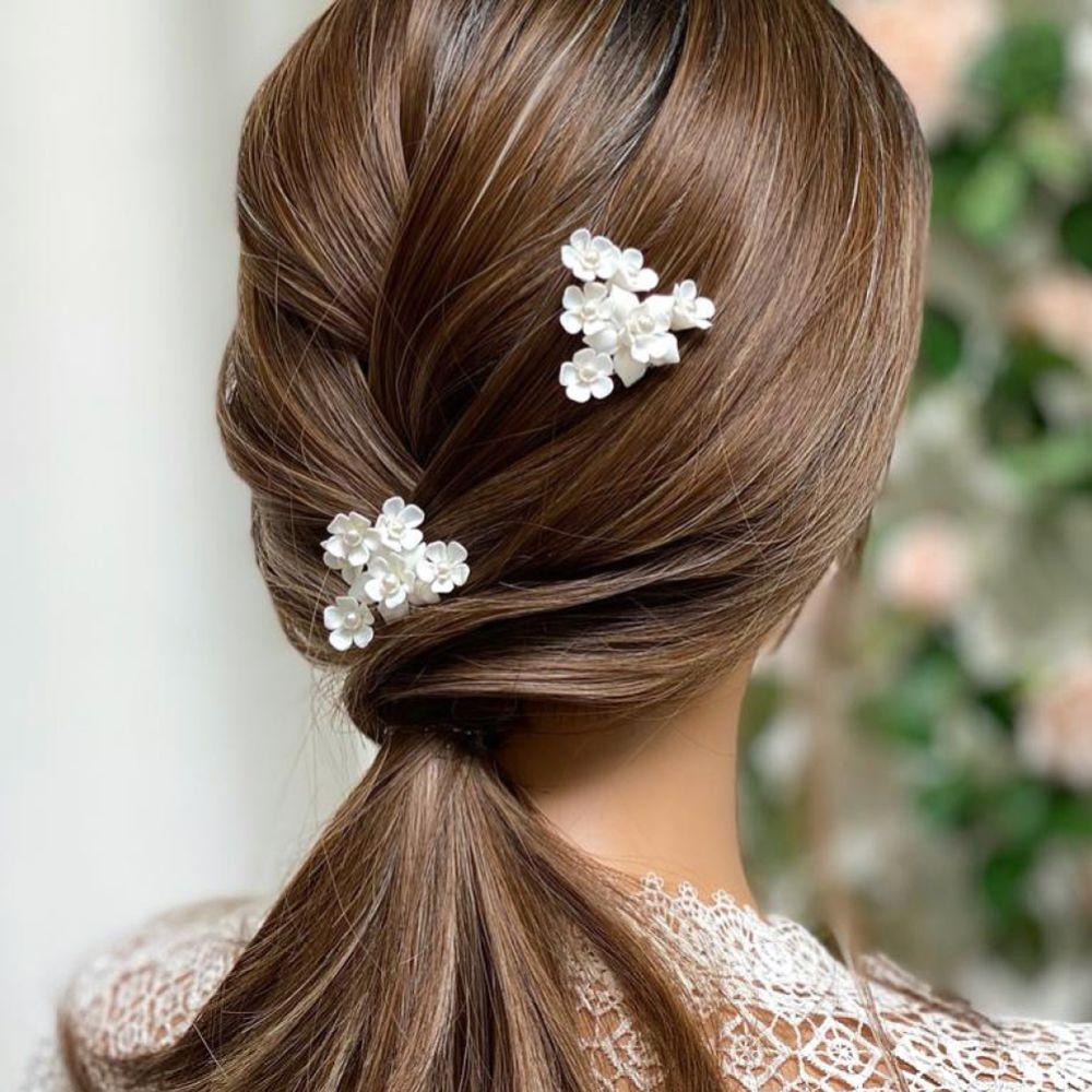 Posy Ivory Pearl Flowers Bridal Hair Pin
