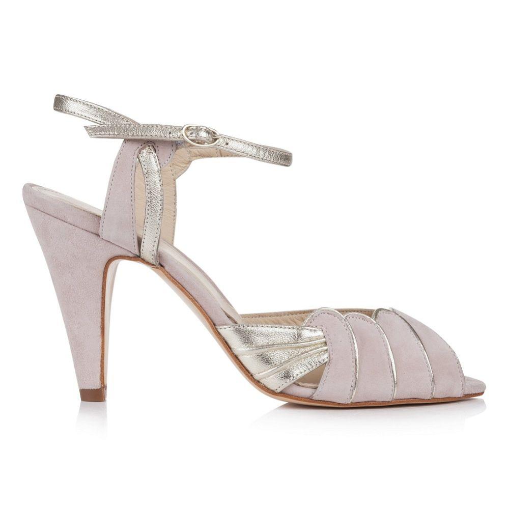Rachel Simpson Aurelia Powder Pink Suede and Gold Leather Sandals