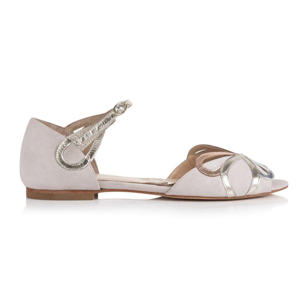 Rachel Simpson Fern Blush Ivory Suede Two Part Flat Sandals