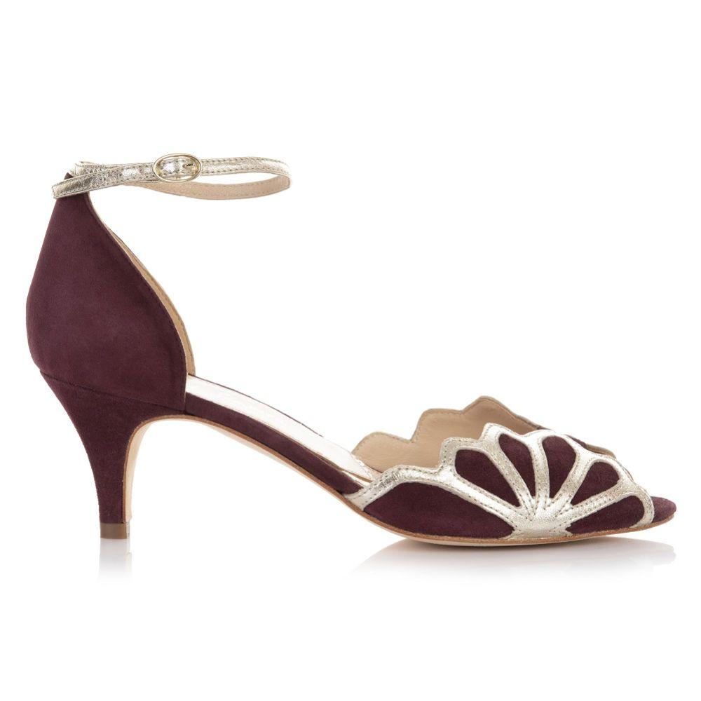 Rachel Simpson Isadora Berry Suede Low Heel Ankle Strap Sandals
