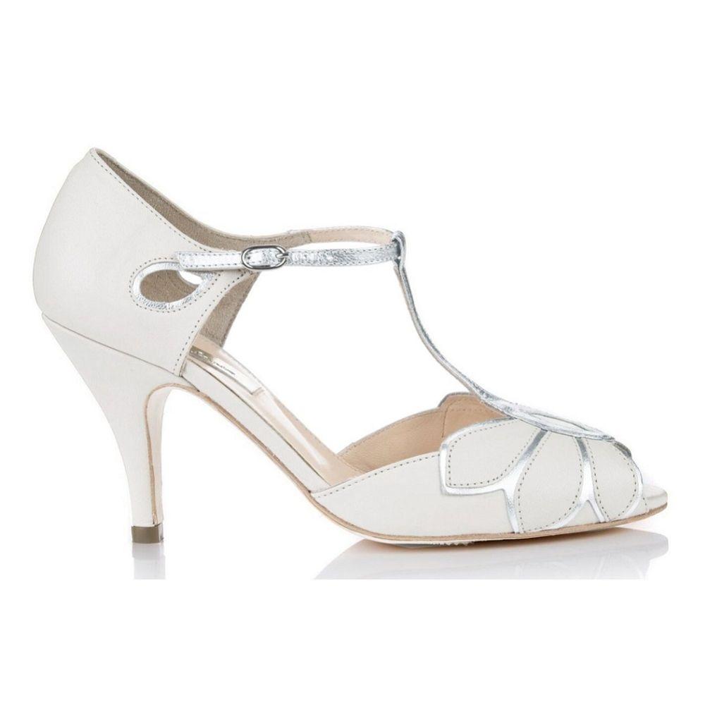 Rachel Simpson Mimosa Ivory Leather Vintage T-Bar Wedding Shoes