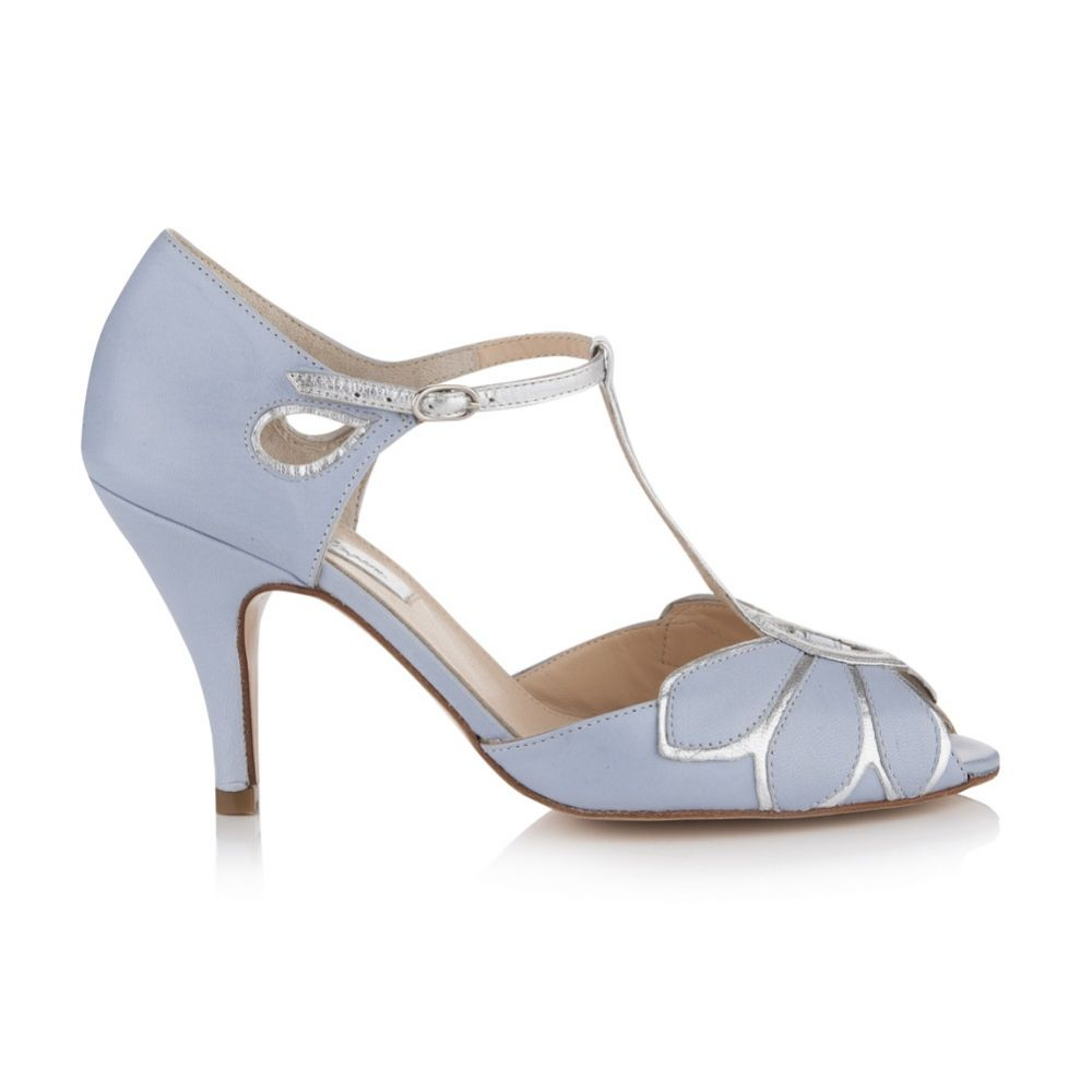 Rachel Simpson Mimosa Powder Blue Leather Vintage T-Bar Wedding Shoes