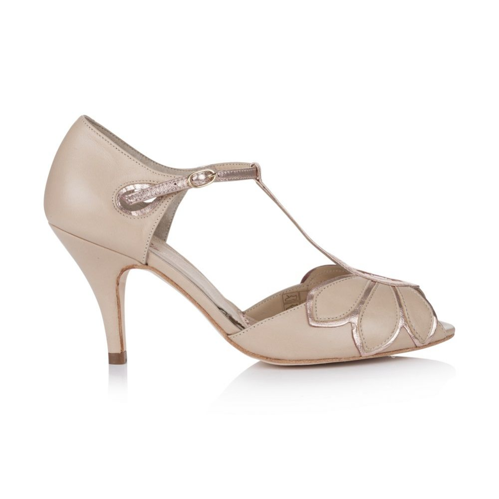 Rachel Simpson Mimosa Rose Gold Leather Vintage T-Bar Wedding Shoes
