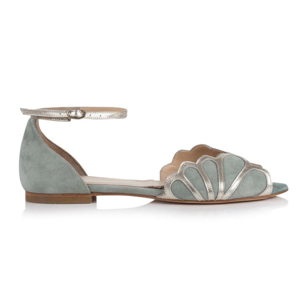 Rachel Simpson Willow Mint Suede Art Deco Flat Sandals