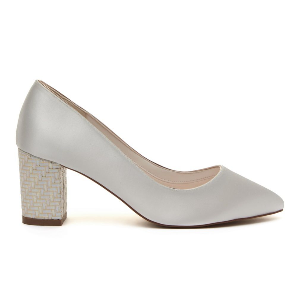 Rainbow Club Bambi Dyeable Ivory Satin and Parquet Block Heel Courts