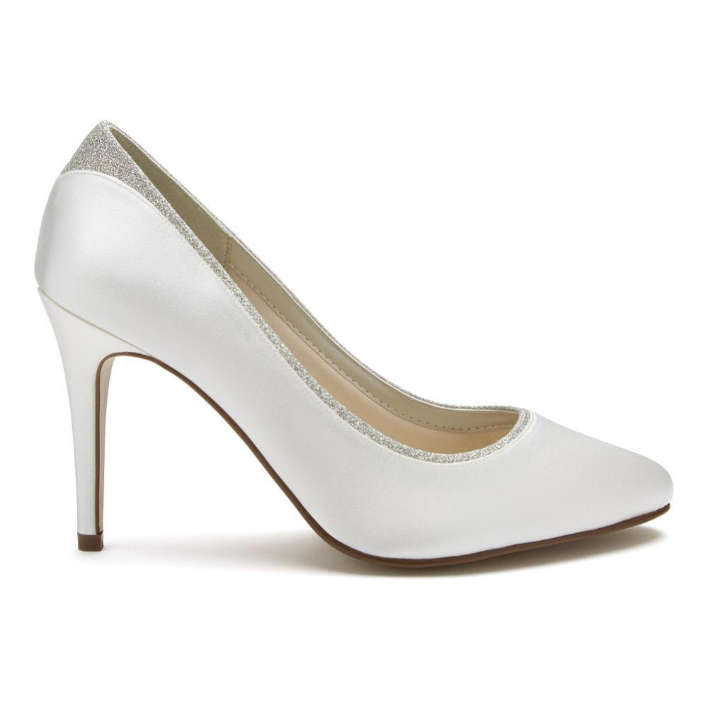 Rainbow Club Billie Dyeable Ivory Satin and Silver Glitter Court Shoes (Wide Fit)