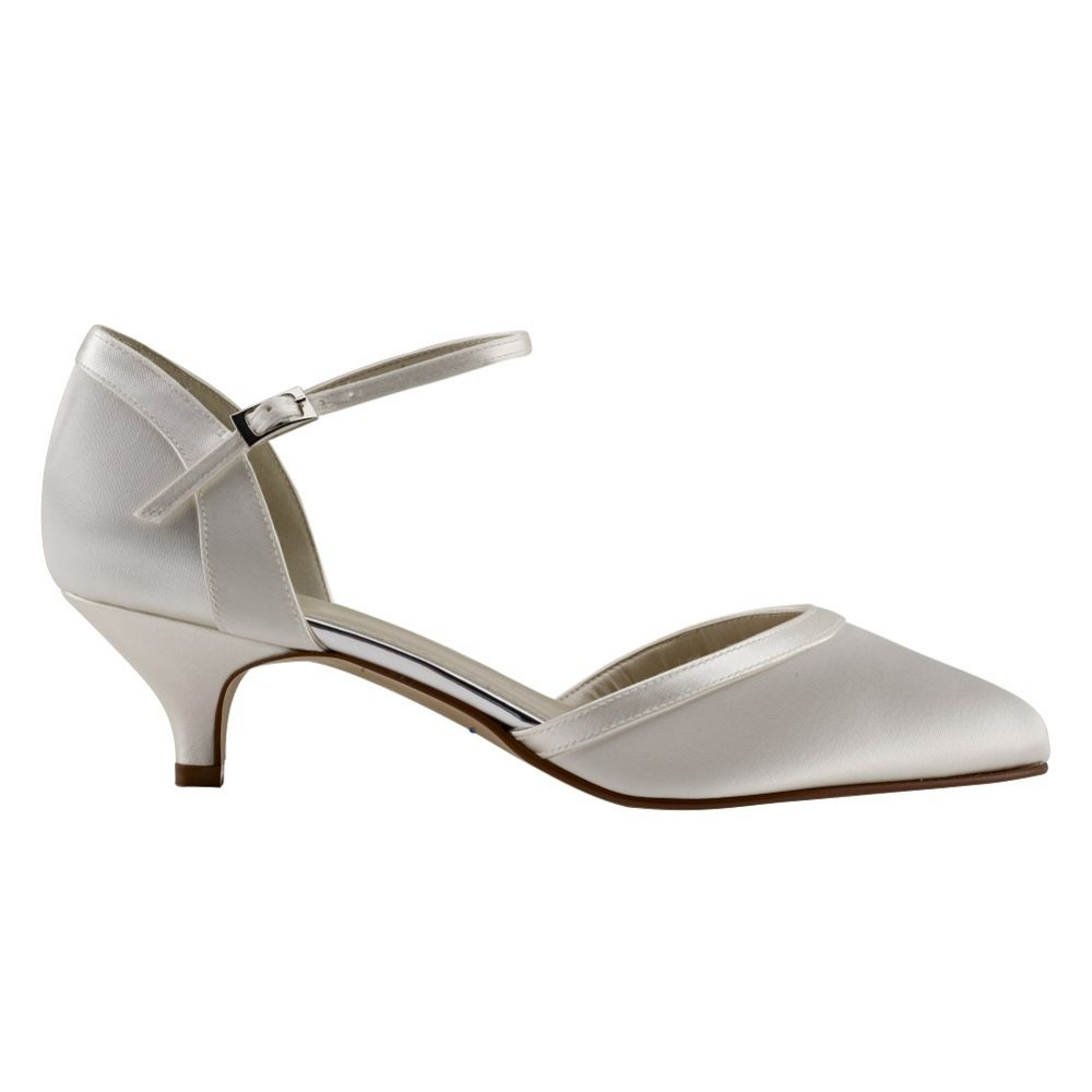 Rainbow Club Brianna Dyeable Ivory Satin Ankle Strap Court Shoes